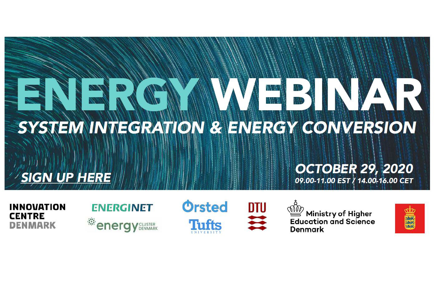 poster showing the title, date, and sponsors of the event: Energy Webinar